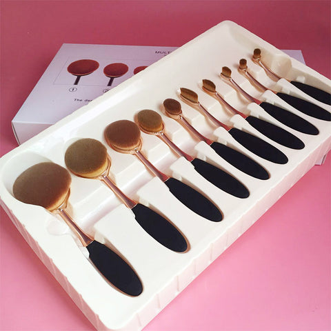 10 Pcs Professional Makeup Brushes Synthetic Rose Gold - awashdress