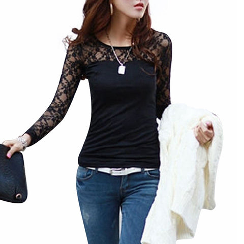 Tops Lace Long Sleeve O-Neck Leisure Blouse
