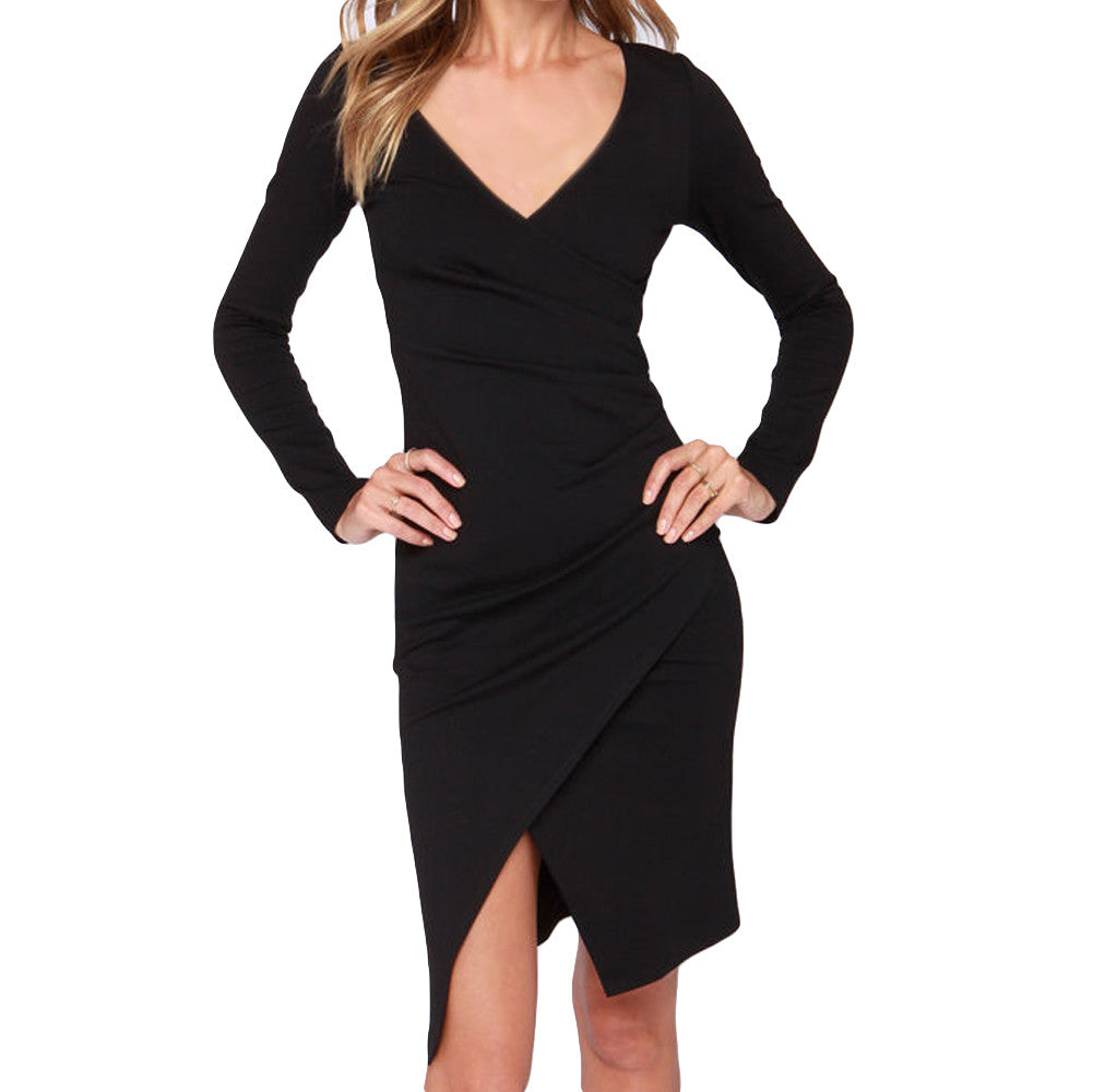 Pleats Split Bodycon Irregular Hem Slim