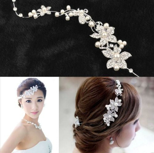 Flower Delicate Pearls Beauty Crystal Chic Headband - awashdress