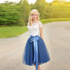 Ribbons Waist Tulle Skirt Blue Skirt