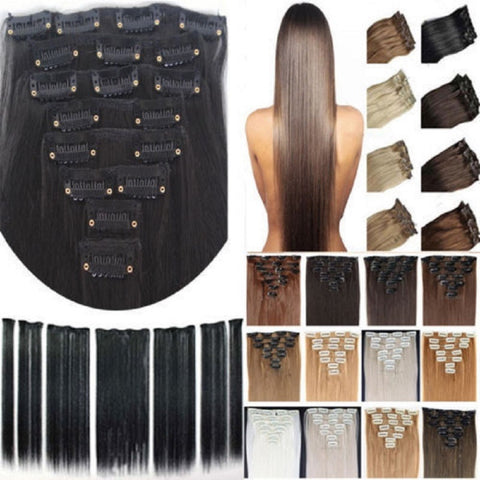 Long Straight Synthetic Hair Clip in on hair extensions