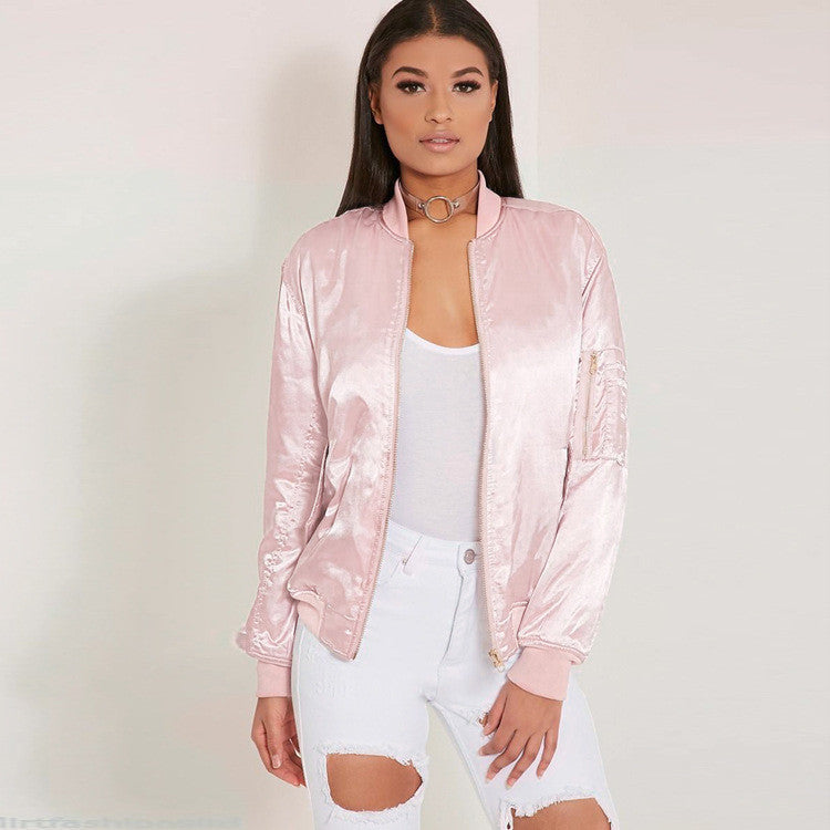 Long Sleeve Zipper Satin Bomber Jacket