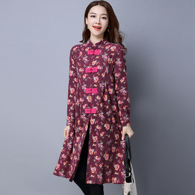 Long Elegant Trench Coat Floral Print - awashdress