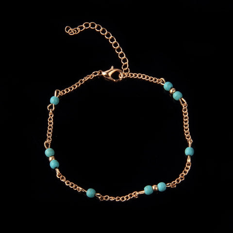 1Pcs Unique Nice Turquoise Beads Silver Chain Anklet