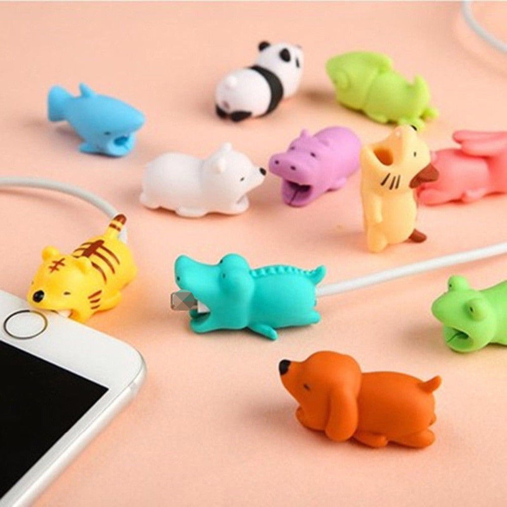 Cartoon Animals Data Line Protector For Iphone