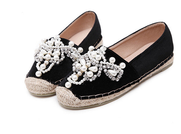 loafer Round Toe Pearl Hemp Shoes - awashdress