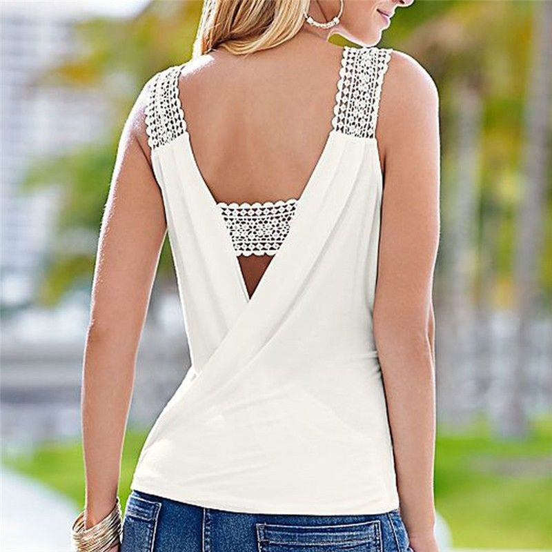 Backless Deep V Neck Sleeveless Lace Crochet Strap Tank Tops