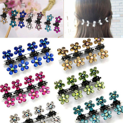 12 PC Crystal Flower Mini Claw Clamp Hair Clip