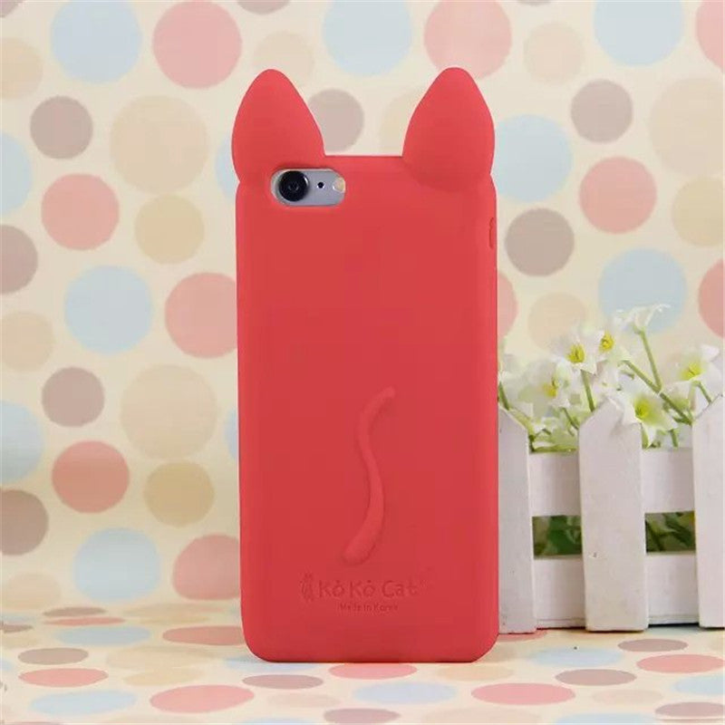 3D Ear Cat Silicon soft Back Case Cover - awashdress