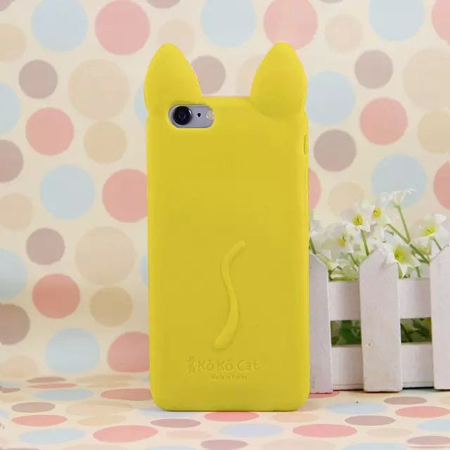 3D Ear Cat Silicon soft Back Case Cover