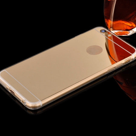 Silicone Edge + Shinny Mirror Back Cover For Iphone