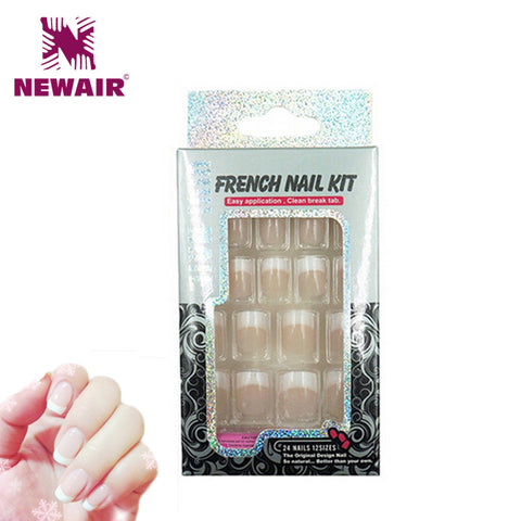 French Manicure Fake Nails
