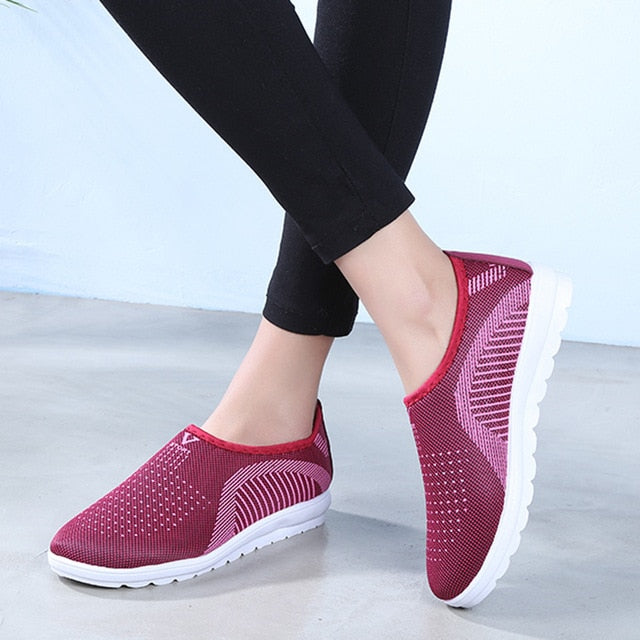 Mesh Flat shoes patchwork slip-on