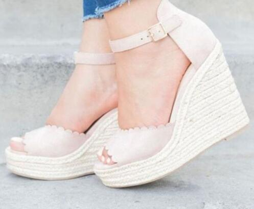 Ankle Strap Straw Platform Wedges Flock High Heels
