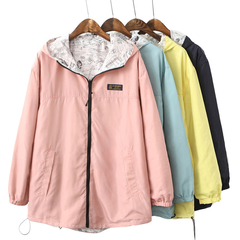 women Jacket Pocket Zipper hooded two side wear