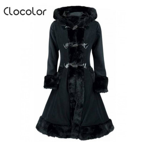 Black Hooded Wool Coat Full Sleeve back lace - awashdress
