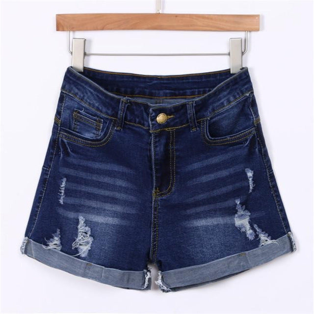 Women Low waist washed Ripped Hole Shorts