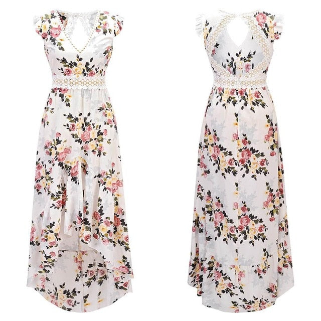 Elegant Flower Print Lace Maxi Long Dress