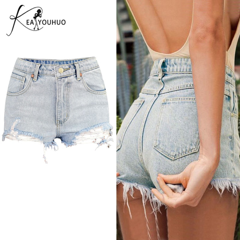 High Waist Ripped Jeans Denim Shorts