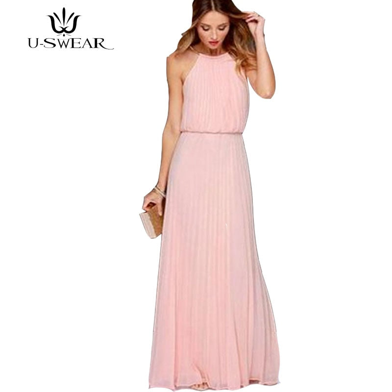 Pink solid women chiffon dress