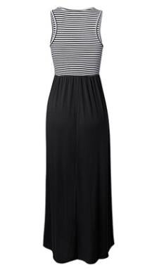Round neck sleeveless striped loose maxi dress