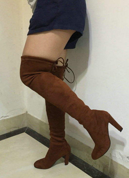 Women Stretch Faux Suede Slim Thigh High Boots