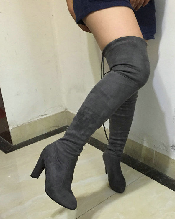 Women Rhinestone Faux Suede High Heel Knee High Boots Slim Stretch Boots Shoes