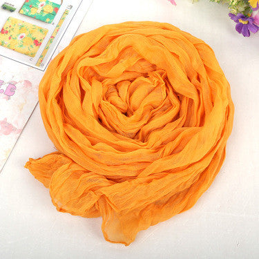 Solid Soft Cotton Long Scarf