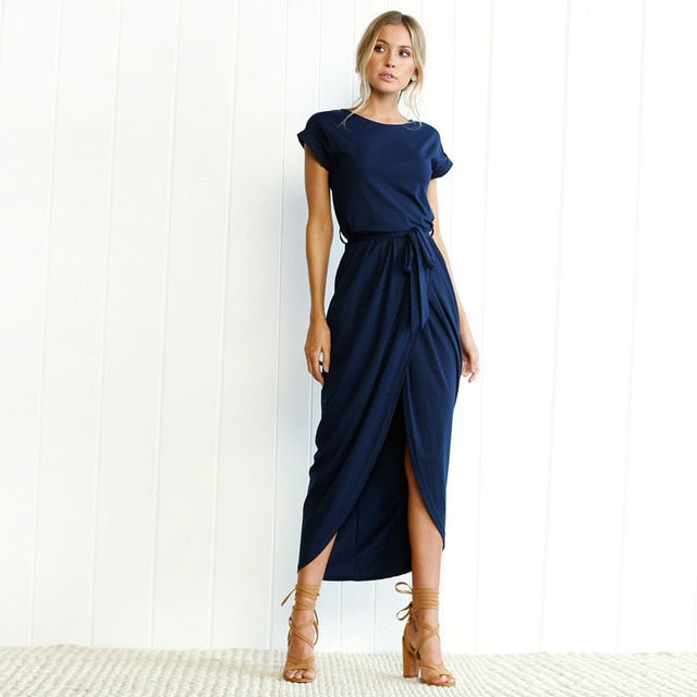 Asymmetrical Solid Ankle-length Empire O-neck` dress