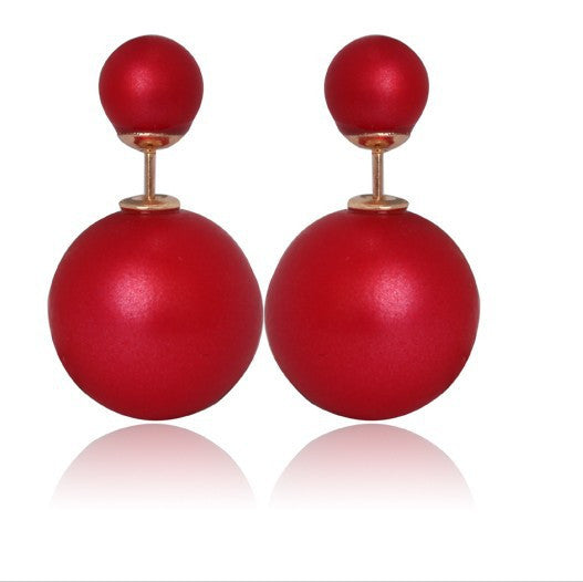 Double Sides Matt Candy Color Round Ball Stud Earrings - awashdress