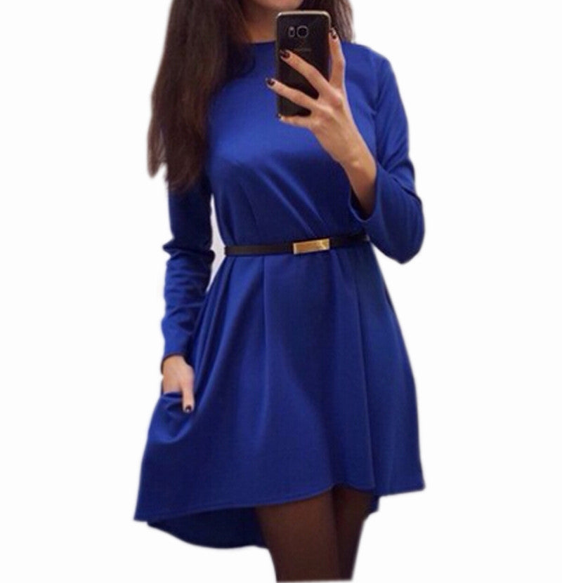 long sleeve O-neck loose dress