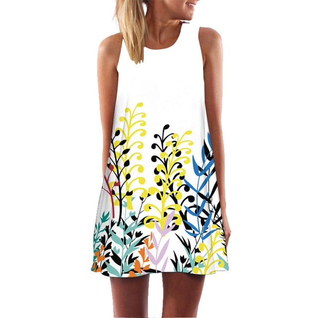 3D Print Butterfly Sleeveless O-neck Dress