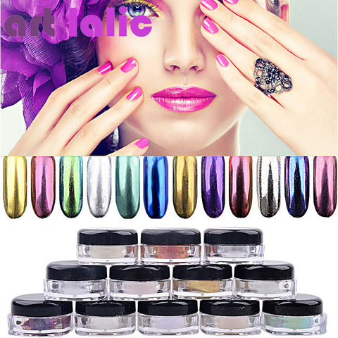 1.5g 1 Box Hot Sale Holographic Glitter Powder Nail Glitter Chrome Pigment 8 Colors