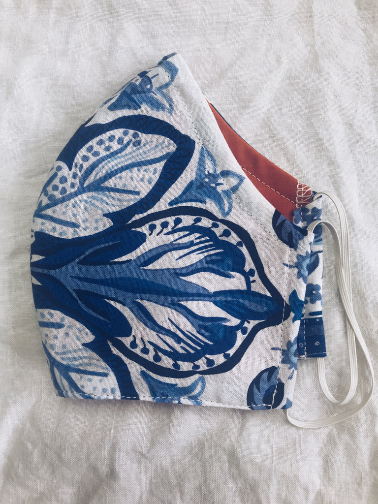 Exeter Masks Reusable Cloth Face Mask - Bold Blue Floral