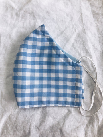 Exeter Masks Reusable Cloth Face Mask - Light Blue Gingham