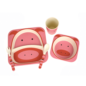 Bamboozoo Dinnerware Pig - 5 Piece Set Cool Guppy