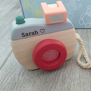 Personalised Wooden Camera - Maroon