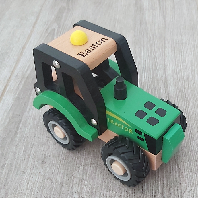 Personalised Wooden Green Tractor
