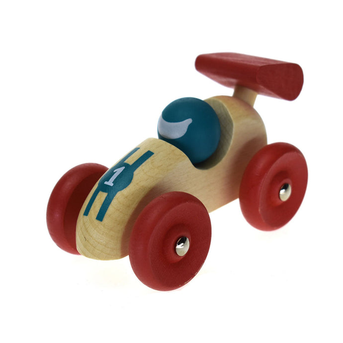 Retro Wooden Racing Car - Red