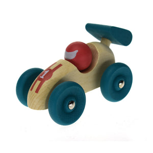 Retro Wooden Racing Car - Teal