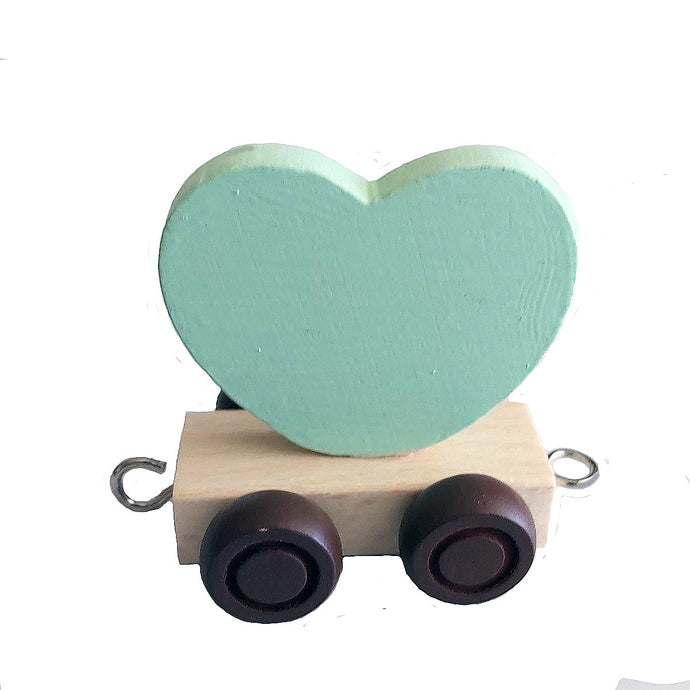 Wooden Train Heart - Lime
