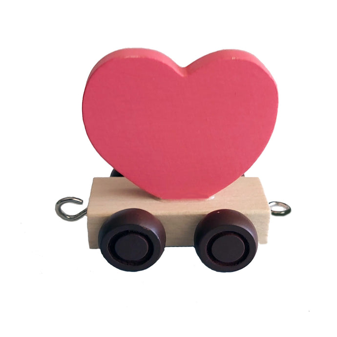 Wooden Train Heart - Red