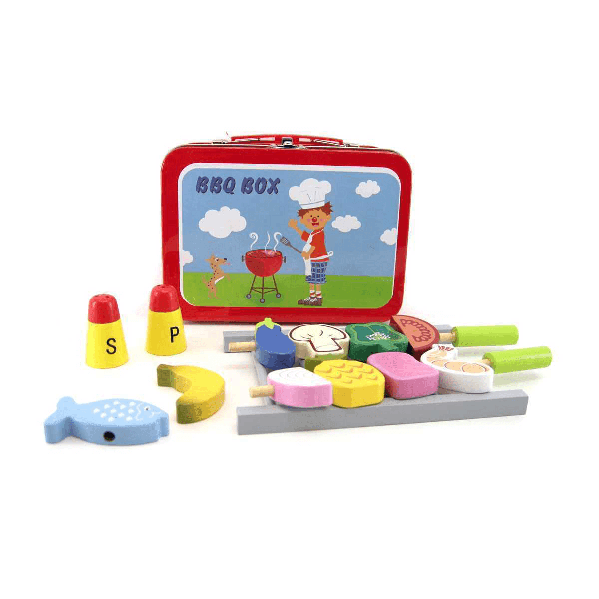 Wooden BBQ Set in Carry Case Kaper Kidz
