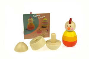 Wooden Chicken & Egg Stacking Tower