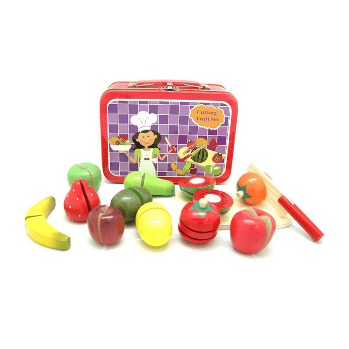 Wooden Cutting Fruit Set with Carry Case Kaper Kidz
