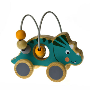 Wooden Dinosaur Bead Maze on Wheel- Blue