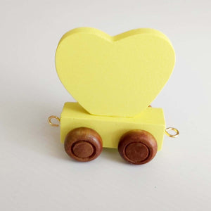Wooden Coloured Heart Yellow