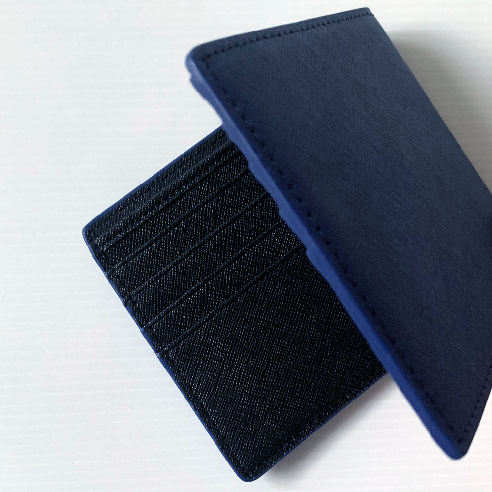 INK NAVY BLUE LEATHER WALLET WITH RFID PROTECTION