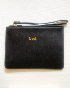 BLACK SAFFIANO LEATHER CLUTCH
